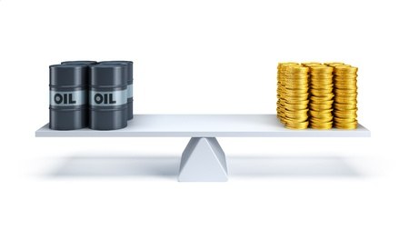 counterbalance: black oil barrels and money counterbalance each other on the scales