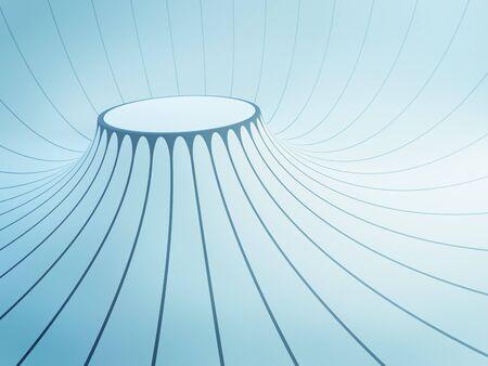 ceiling design: futuristic interior space, 3d render Stock Photo