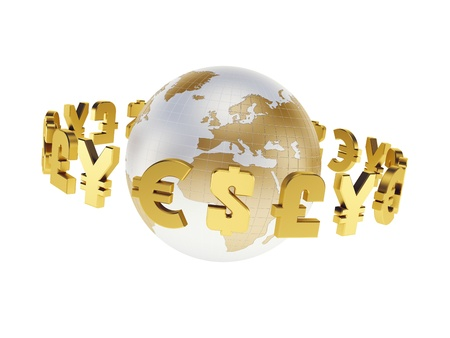 main world currencies, isolated 3d render Stock Photo