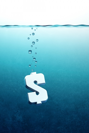 sinking: sinking dollar symbol, 3d render