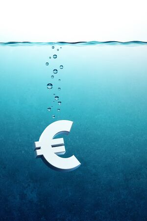 in trouble: sinking euro symbol, 3d render