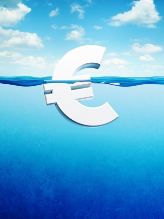 �ber Wasser: Euro-Symbol �ber Wasser, 3d render Lizenzfreie Bilder