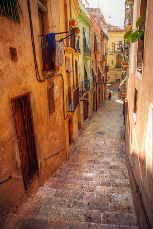 traditional old Spanish street, Tarragona, Catalonia, Spain photo