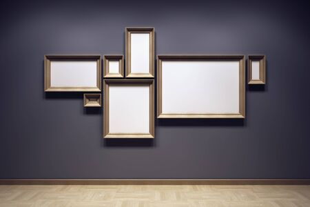 gallery wall: blank frames in the gallery, 3d rendering