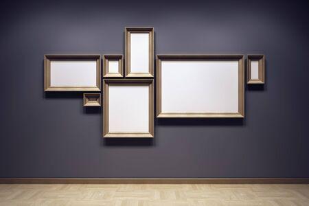 art gallery: fotogrammi vuoti in galleria, rendering 3d