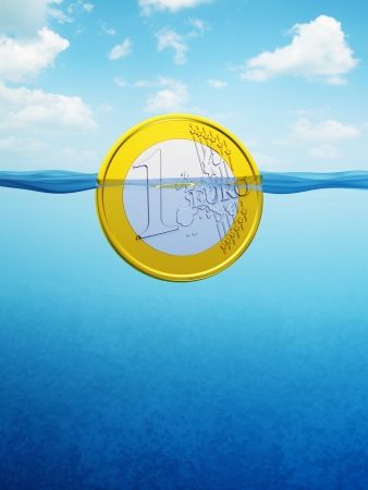 credit crisis: afloat euro coin, 3d render