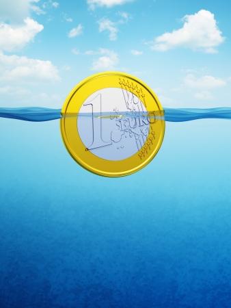 einsturz: �ber Wasser-Euro-M�nze, 3d render