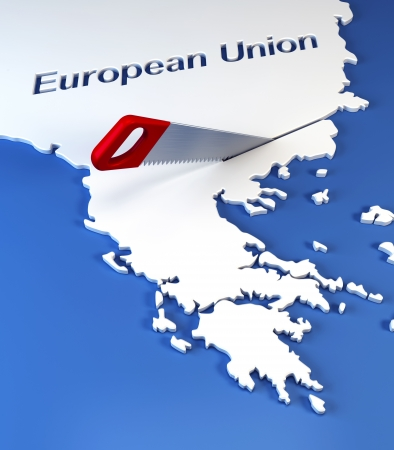 credit union: Greece secession from European Union, 3d rendering