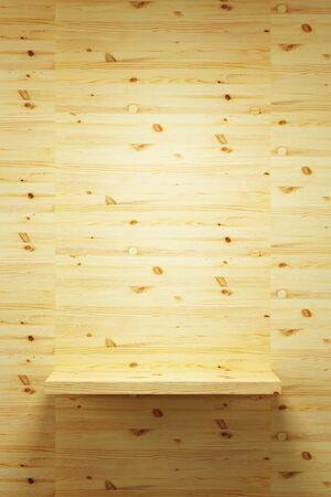 empty wood shelf on wall, 3d render photo
