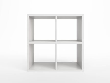 modern white bookcase, 3d render photo