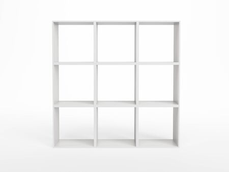 store display: modern white bookcase, 3d render Stock Photo