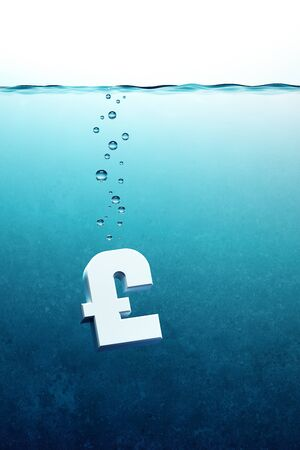 ahogarse: símbolo de la libra se hunde, 3d render Foto de archivo