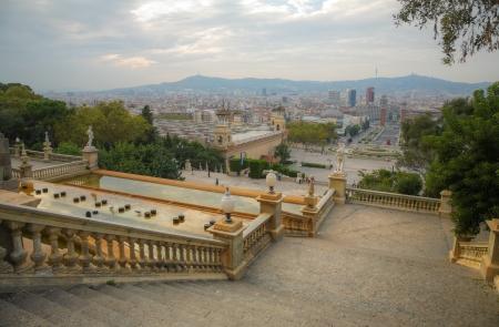 espanya: view to the Espanya Square in Barcelona, Spain