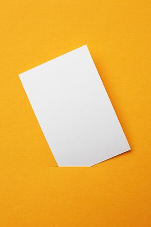 white paper card on orange background photo