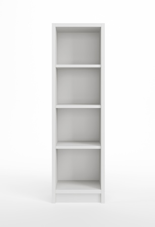 home products: modern white bookcase, 3d render Stock Photo