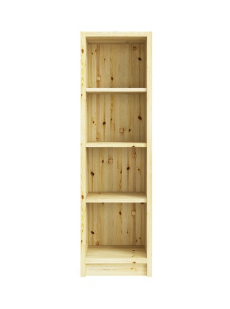 bookcases: empty pine bookcase isolated 3d render Stock Photo