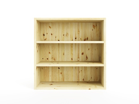 bookcase: empty pine box isolated 3d render Stock Photo