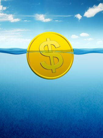 afloat: afloat dollar coin, 3d render