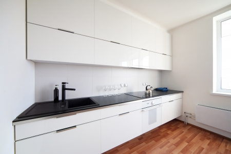 kitchen cabinet: modern kitchen interior in minimalism style Stock Photo