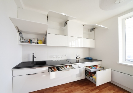 modern kitchen interior in minimalism style photo