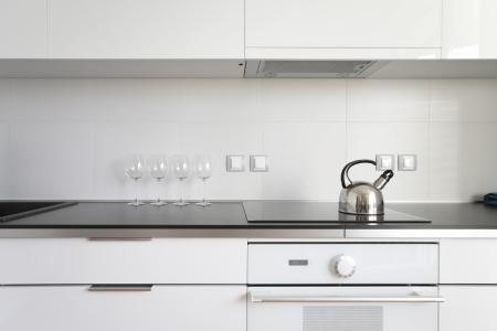 domestic scenes: modern kitchen interior in minimalism style Stock Photo