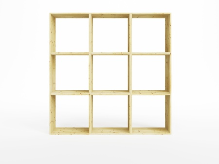 timber frame: empty pine shelf, isolated 3d render