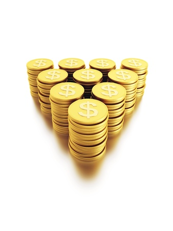 dollar coins: stack of dollar coins, isolated 3d render