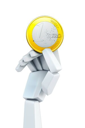 hand hold euro coin, isolated 3d rendering Stock Photo - 17922343