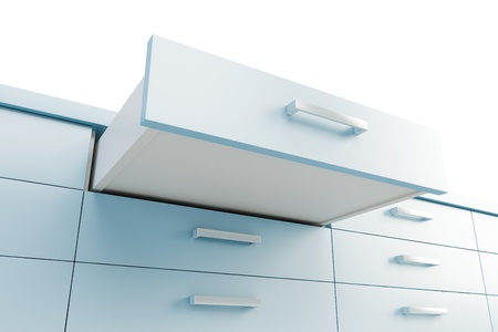 cupboard with opened drawer, 3d render photo