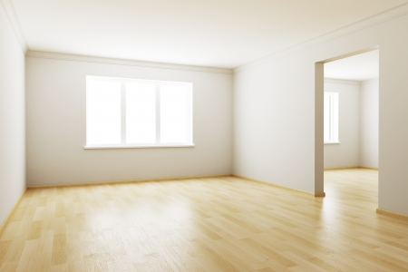 flooring design: 3d rendering the empty room Stock Photo