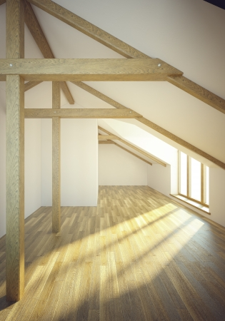 empty mansard room with windows, 3d render photo
