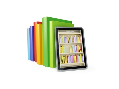 online library on the tablet, 3d render