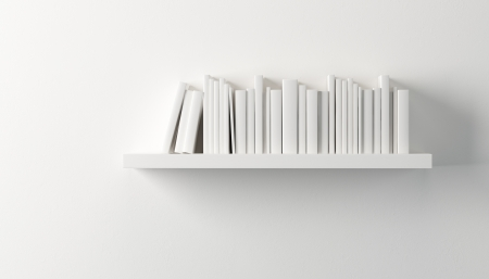 shelf with white books, 3d render photo
