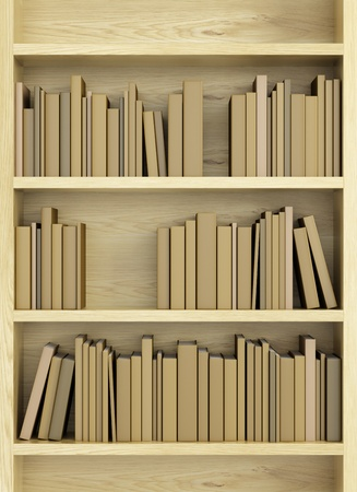 bookcases: bookcase with books, 3d render Stock Photo