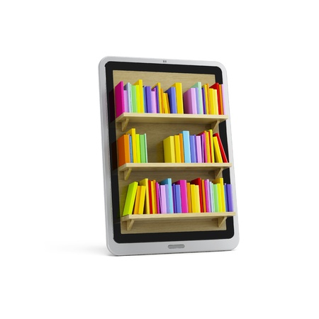 digital library: online library on the tablet, 3d render
