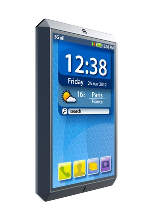modern touchscreen smartphone, isolated 3d render photo