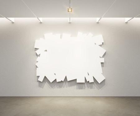 art gallery interior: blank picture in the gallery, 3d rendering