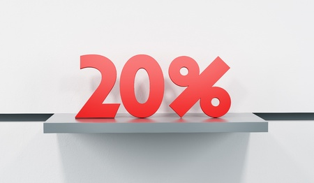 sticker with sale percent on the show-case in the store photo
