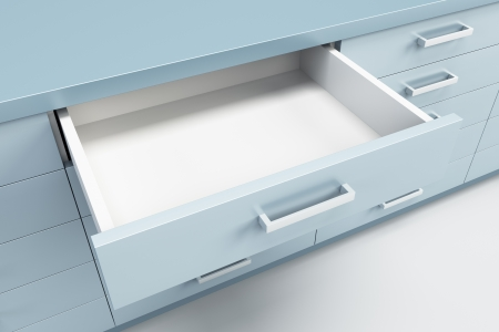 drawers: cupboard with opened empty drawer