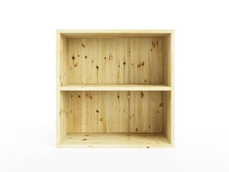 crates: empty pine shelf, isolated 3d render