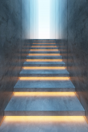 modern minimalism style stairs with night lighting Stock Photo