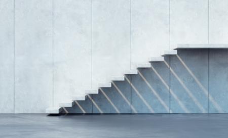 태양에 의해 조명 미니멀리즘 스타일의 계단