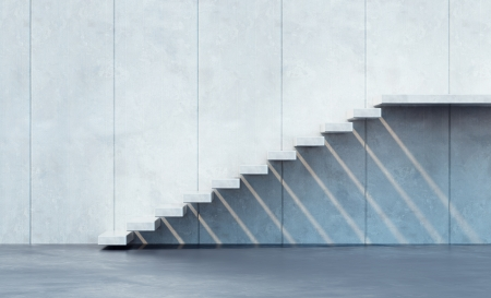 3D rendering: minimalism style stairs illuminated by sun