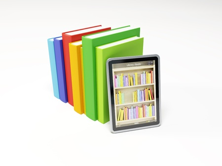 electronic book: online library on the tablet, 3d render