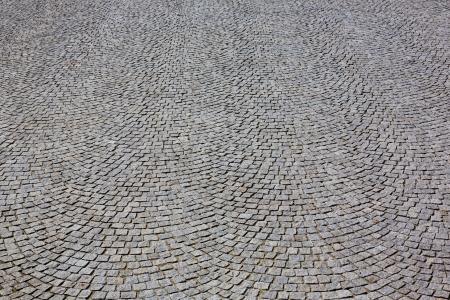 cobblestone street: granite pavement wide angle view Stock Photo
