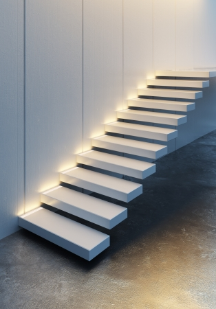 modern minimalism style stairs with night lighting Stock Photo - 21035590