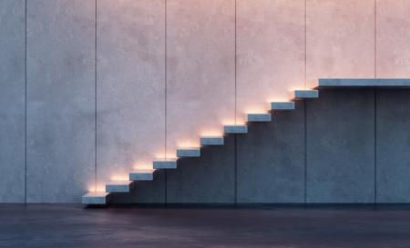 야간 조명과 현대적인 미니멀리즘 스타일의 계단 스톡 콘텐츠
