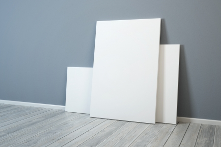 art gallery interior: several blank picture in the room Stock Photo