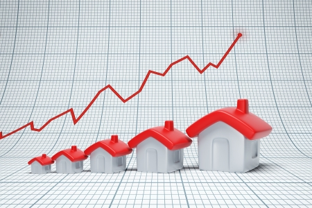 proliferation: Real estate are raising. Positive chart Stock Photo