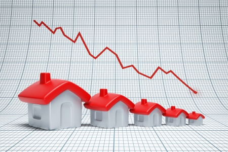 Real estate are falling. Negative chart Stock Photo - 22510327